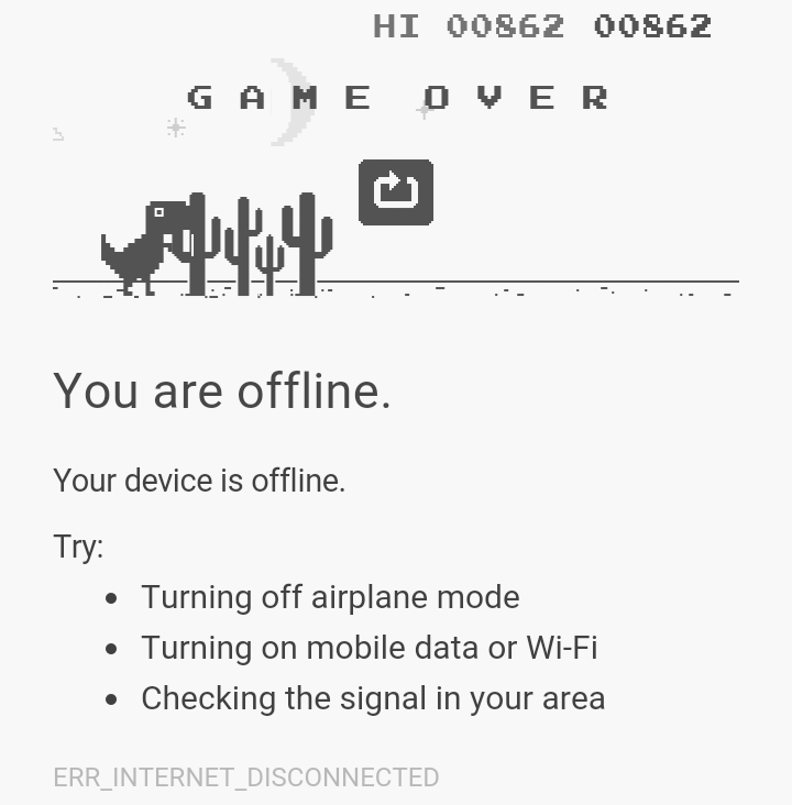 New High score dinosours game – Offline google chrome ERR_INTERNET_DISCONNECTED